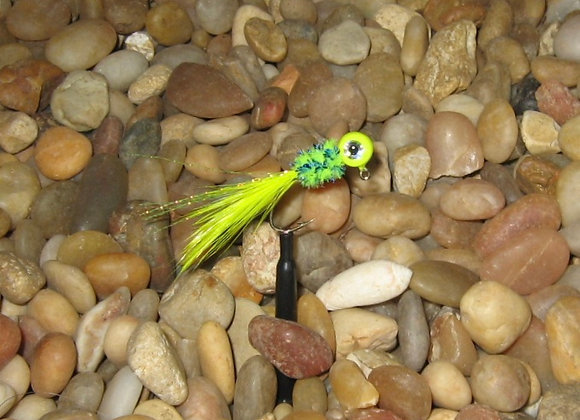 4 pack 1/16 or 1/8  chartreuse yellow hackle feather crappie jig
