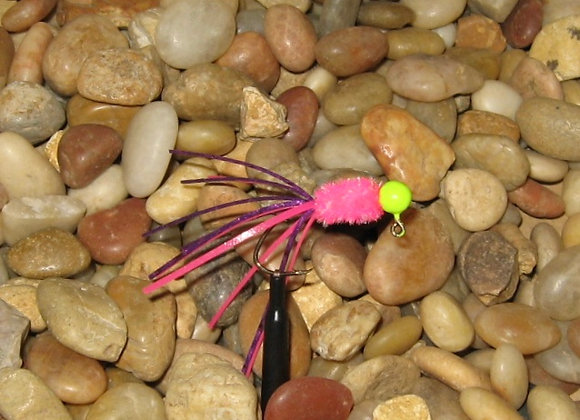 4 pack 1/16 pop sickle crazy legs crappie jig #4 bronze sickle hooks