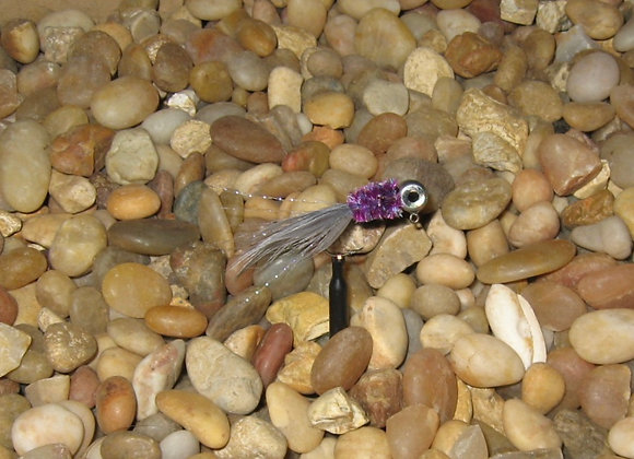 4 pack 1/16 purple gray ghost hackle feather crappie jig #4 sickle