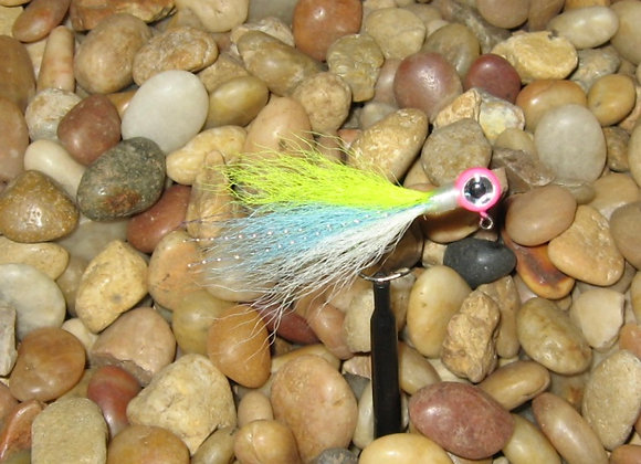 3 pack 1/16 cotton candy kip tail jig on #4 bronze sickle