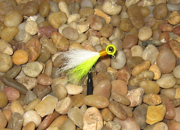 3 pack 1/16 flo yellow white premium kip tail jig on #4 bronze sickle