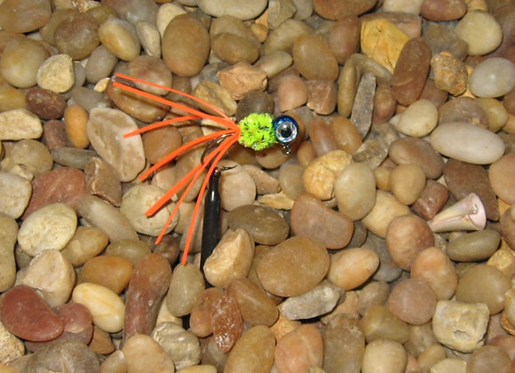 4 pack 1/16 blue orange chartreuse crazy legs crappie jig #4 bronze sic