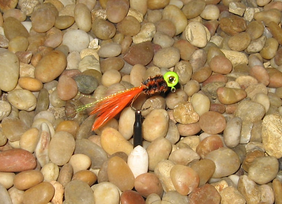 4 pack 1/16 orange brown chartreuse hackle feather crappie jig #4 sickle