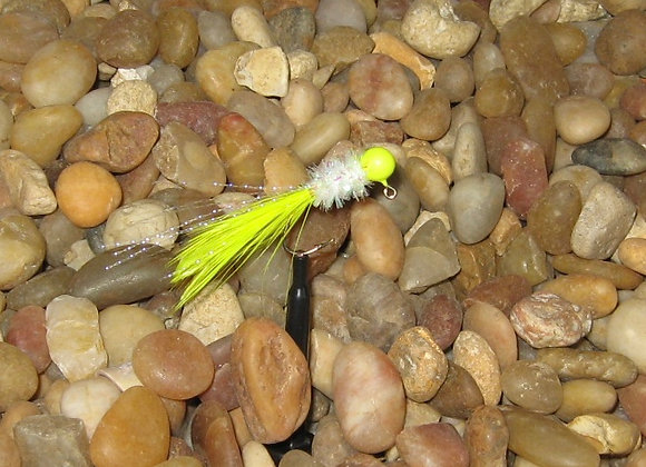 4 pack - 1/16 yellow white cactus hackle feather on #4 sickle hooks