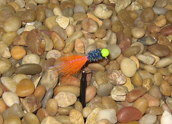 3 pack 1/16 orange chartreuse june bug kip tail jig on #4 sickle