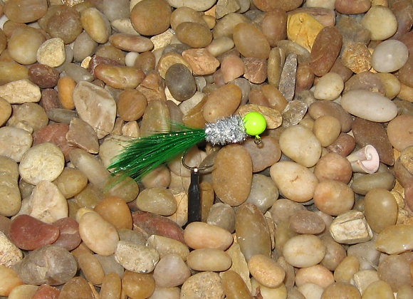 4 pack - 1/16 silver green chartreuse hackle feather on #4 sickle hooks