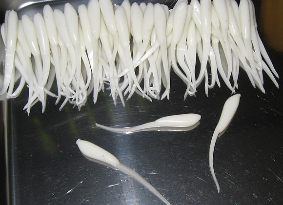 """12 pack of bone white 1.75 or 2.5"""" minnow fry plastic crappie jigs"""