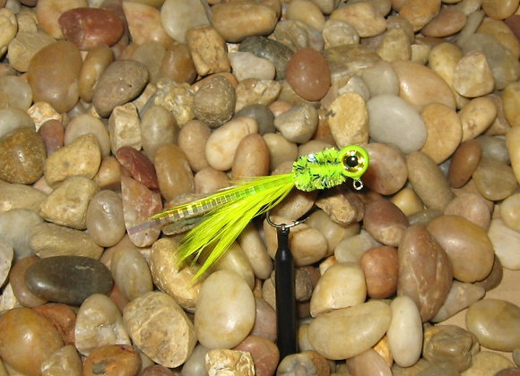 4 pack 1/16 chartreuse yellow hackle feather crappie jig #4 sickle