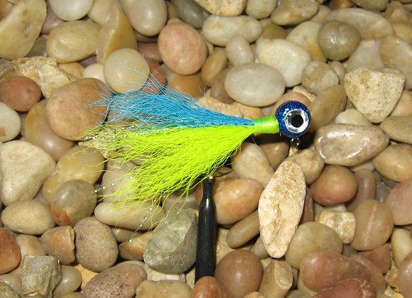 3 pack 1/16 -1/8 premium chartreuse blue kip tail crappie jigs #4 bronze sick
