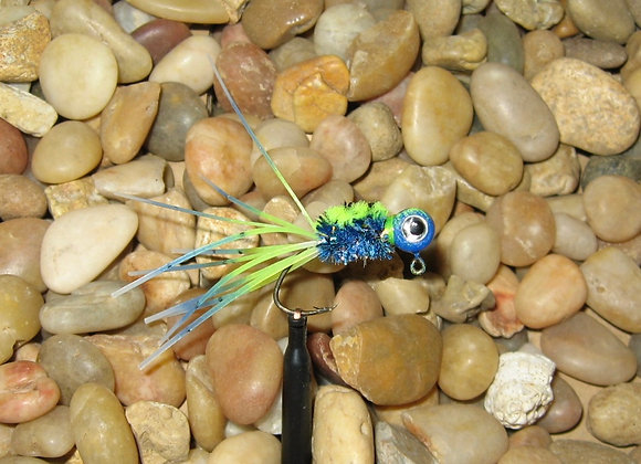 4 pack 1/16 Bluegrass Mahi crazy legs crappie jigs on hooks of your choice