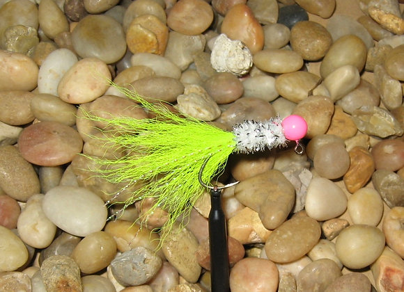 3 pack 1/16 pink white chartreuse Kip Tail Crappie Jigs with Sickle hooks