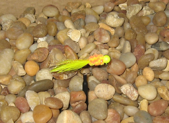 4 pack - 1/16 yellow clown hackle feather on #4 sickle hooks