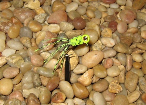 4 pack 1/16 lime chartreuse crazy legs crappie jigs #4 sickle hook