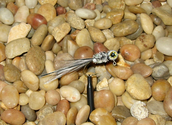 4 pack 1/16 grey ghost hackle feather crappie jig #4 sickle you pic sizes