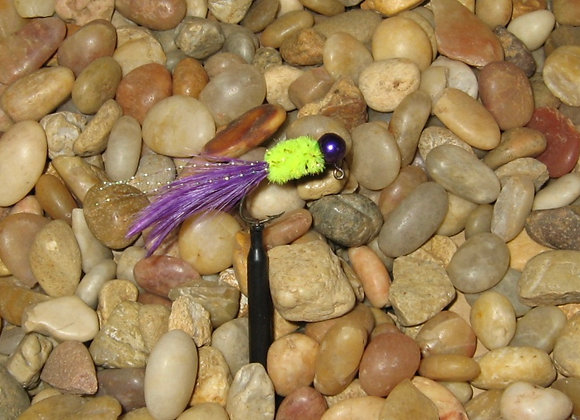 4 pack 1/16 chartreuse and purple hackle feather on #4 sickle hooks