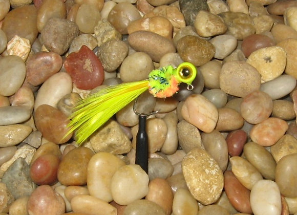 4 pack 1/16 or 1/8 tequilla sunrise hackle feather crappie jig