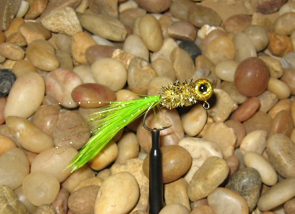 4 pack 1/16 gold rush chartreuse hackle feather crappie jig #4 bronze sickle
