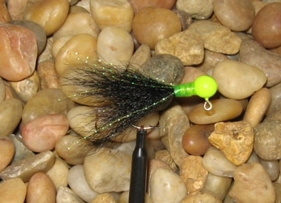 3 pack 1/16 -1/8 premium chartreuse black kip tail crappie jigs #4 bronze sickl