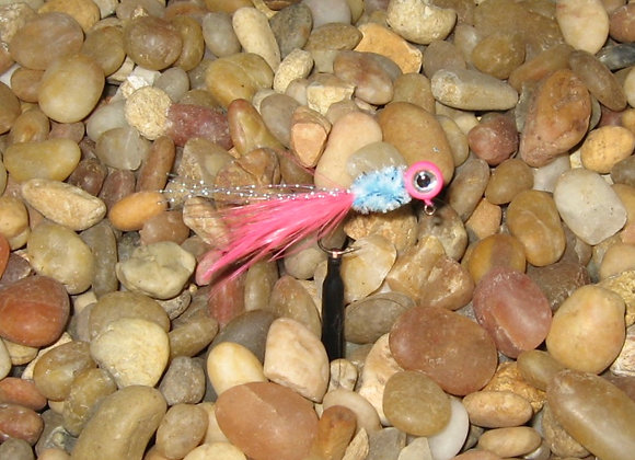 4 pack 1/16 or 1/8 pink powder blue hackle feather crappie jig