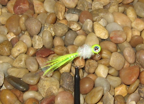 4 pack 1/16 chartreuse white cactus hackle feather crappie jig #4 sickle