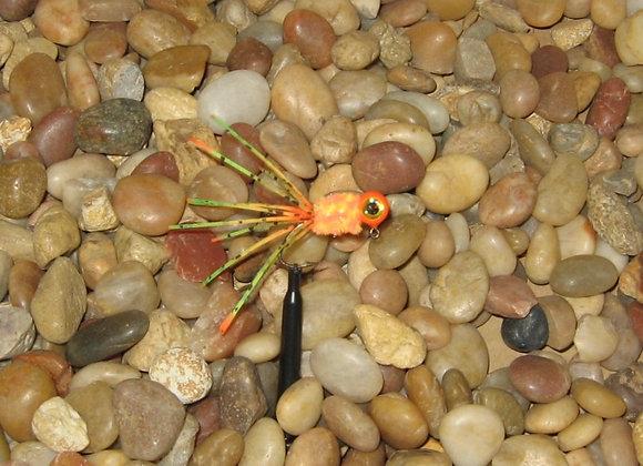 4 pack 1/16 orange firetiger crazy legs crappie jig #4 bronze sickle hook