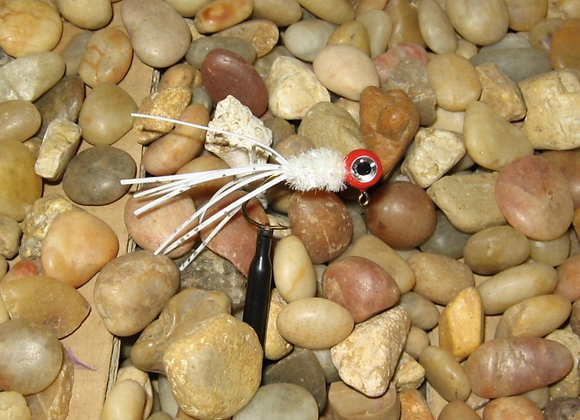 4 pack 1/16 - 1/8 red white crazy legs crappie jig on sickle hooks