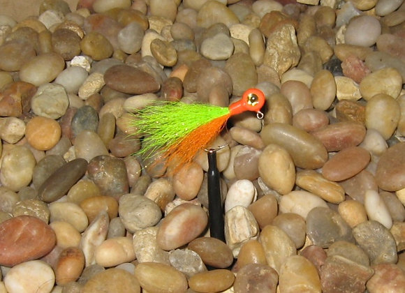 3 pack 1/16 orange chartreuse kip tail jig on #4 bronze sickle