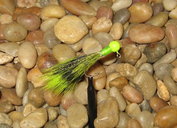 3 pack of 1/16 chartreuse all over squirrel tail crappie jigs #4 hook