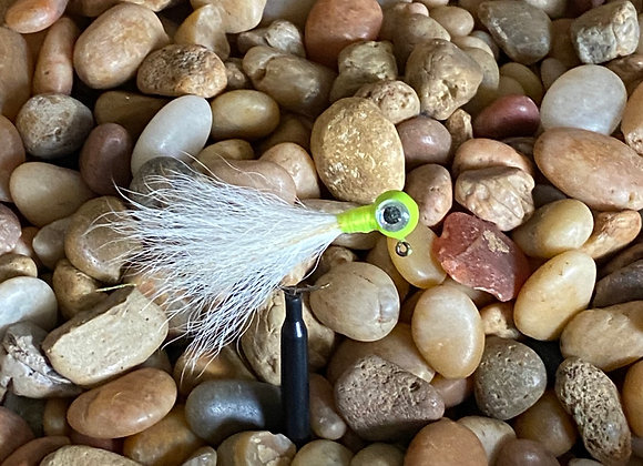 3 pack 1/16 white chartreuse silver eye kip tail jig on #4 bronze sickle
