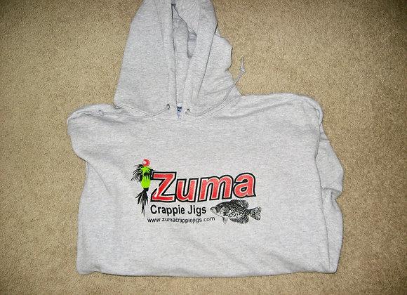 Zuma Crappie Jigs hoodies gray as shown with logo