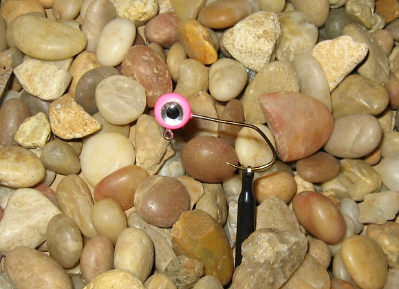 10 pk hot pink Premium painted pill jig heads 3D eyes on Sickle Hooks