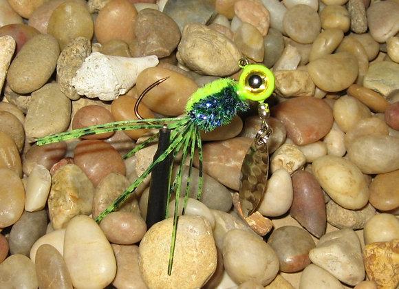 3 pack 1/16 -1/8 chartreuse bluegill crazy legs zuma spin jig on sickle hooks