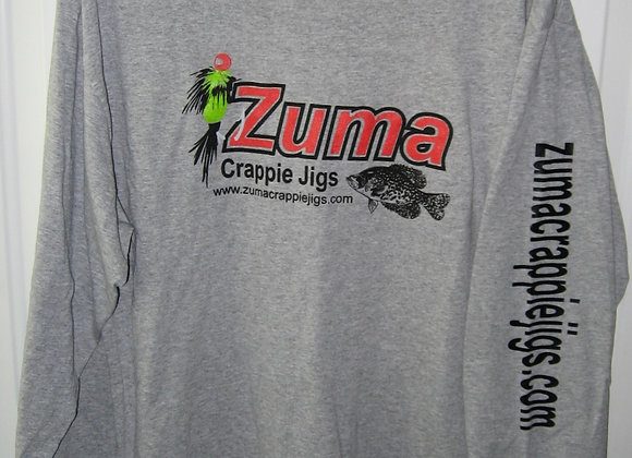 Zuma crappie jigs long sleeve t-shirts available now as shown