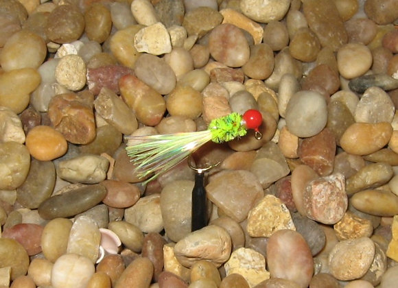 3 pack 1/24 red white chartreuse Okee bug jig on #6 bronze sickle