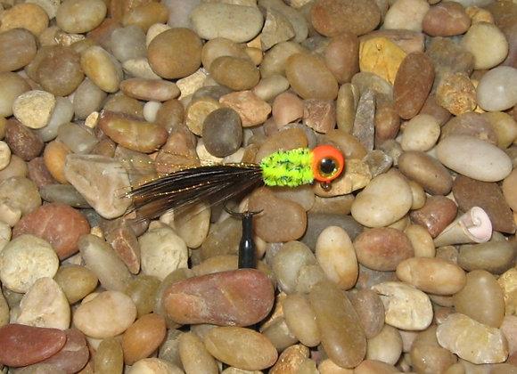 4 pack 1/16 orange yellow dark brown hackle feather crappie jig