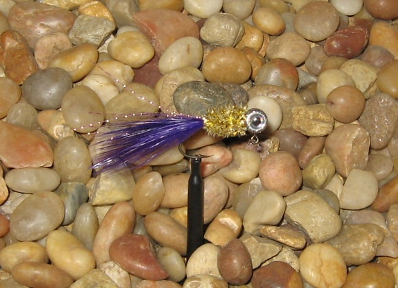 4 pack 1/16 silver gold purple hackle feather crappie jig #4 sickle you pic