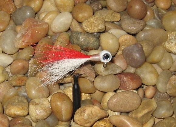 3 pack 1/16 -1/8 premium white red white kip tail crappie jigs #4 bronze sickle