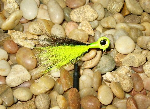 3 pack 1/16 -1/8 premium chartreuse black kip tail crappie jigs #4 bronze sick