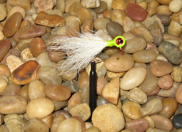 3 pack 1/16 white chartreuse red eye kip tail jig on #4 red sickle