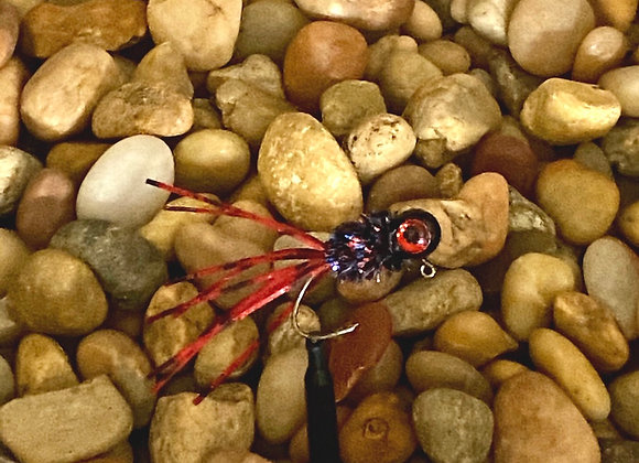 4 pack 1/16 - 1/8 black ruby crazy legs crappie jig on sickle hooks