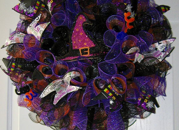 Cindy's door wreath halloween blacks & purple with witch hat and shoes
