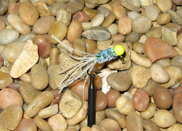 4 pack 1/16 blue haze yellow glow crazy legs crappie jig #4 bronze sickle ho