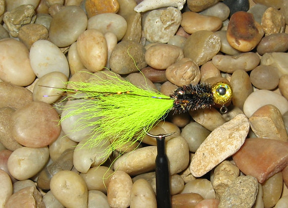 3 pack 1/16 premium gold chartreuse black kip tail crappie jigs #4 sickle hook