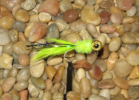 4 pack 1/16 or 1/8 golden holo chartreuse hackle feather crappie jig #2 sickle