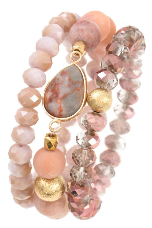 Triple Mix Bead Stretch Bracelet Set