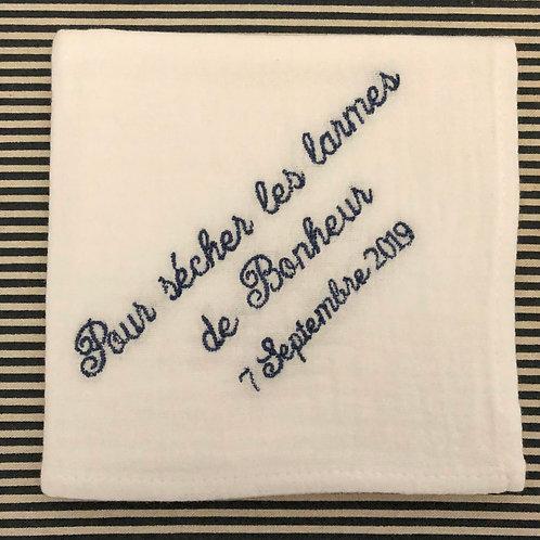 Mouchoir phrase, brodé personnalisé en lin ou coton
