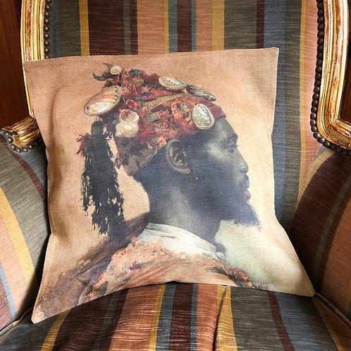 Housse de coussin en lin naturel, portrait orientaliste.