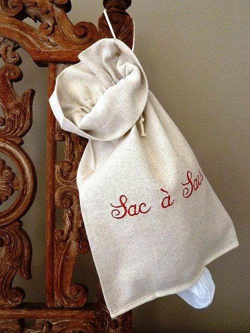 Sac à sacs brodé en lin ou coton