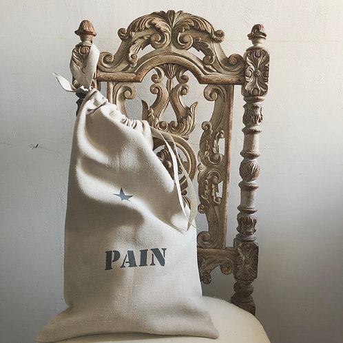 Sac à Pain en lin lavé naturel. Peint au pochoir.