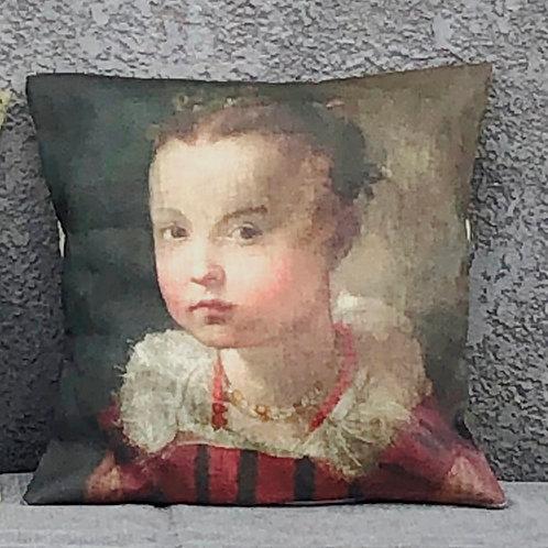 Housse de coussin en lin naturel, impression d'art, portrait d'enfant.